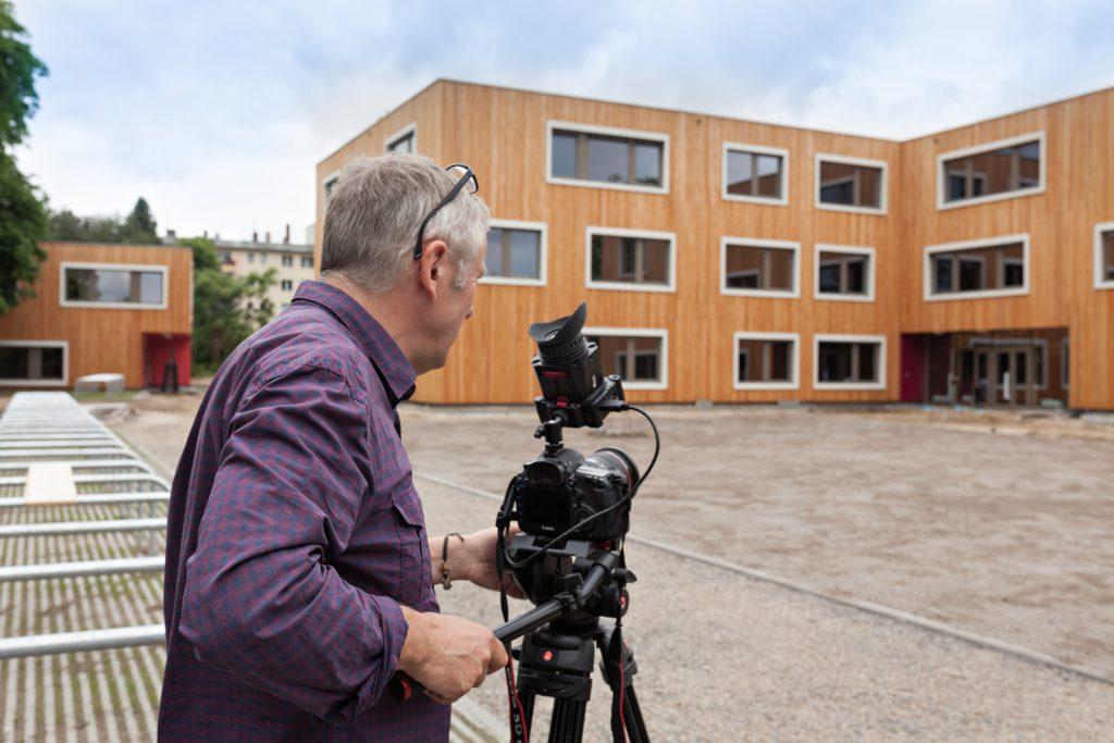 Filmaufnahmen auf der Baustelle des Waldorf-Campus in Berlin-Schöneberg