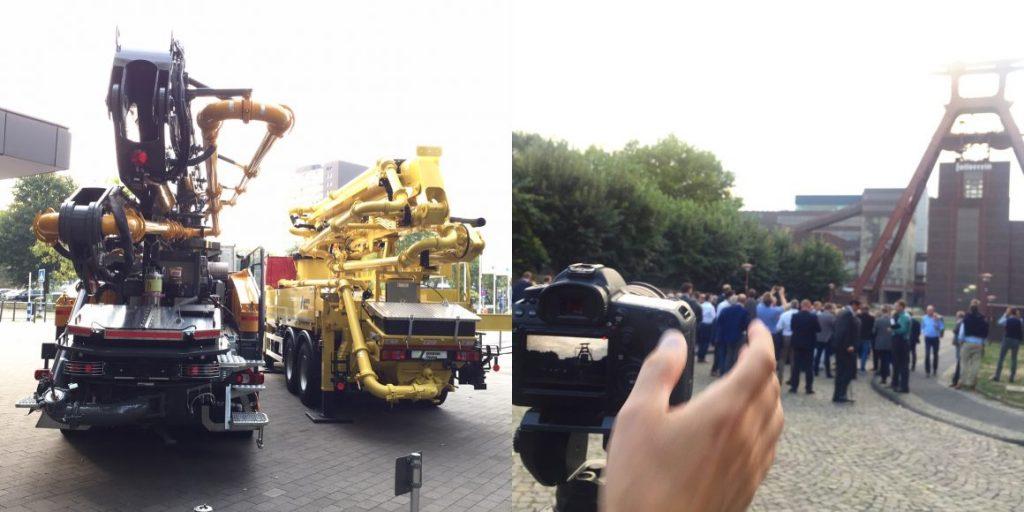 """Eventfilm-Produktion in Essen: Filmaufnahmen vor dem Atlantic Congress Hotel und vor der Zeche Zollverein während der Tagung """"Praxis Transportbeton 2018"""" (Fotos: Eric Sturm)"""